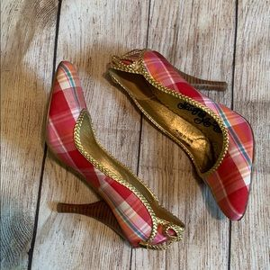 Plaid and gold naughty monkey shoes